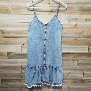 Vintage | Acid Wash Raw Hem Denim Midi Dress M